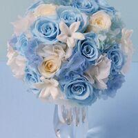 『水色のバラと白いジャスミンの夏色プリザーブドフラワーブーケ』 - コピー.jpg
